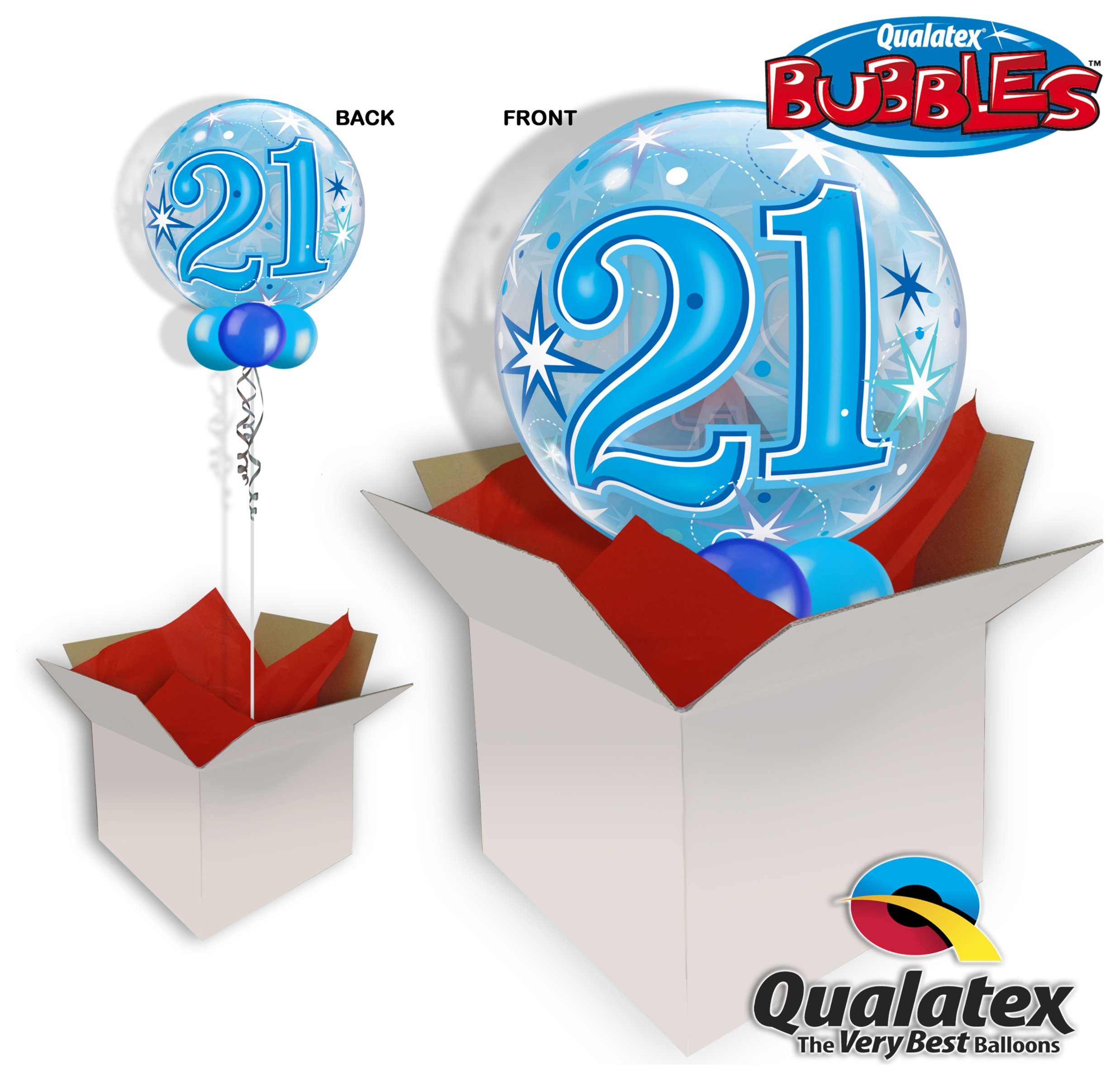 Image of 21st Birthday Blue Starburst Sparkle Bubble Balloon In A Box