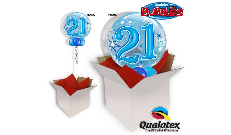 21st Birthday Blue Starburst Sparkle Bubble Balloon In A Box747 4921