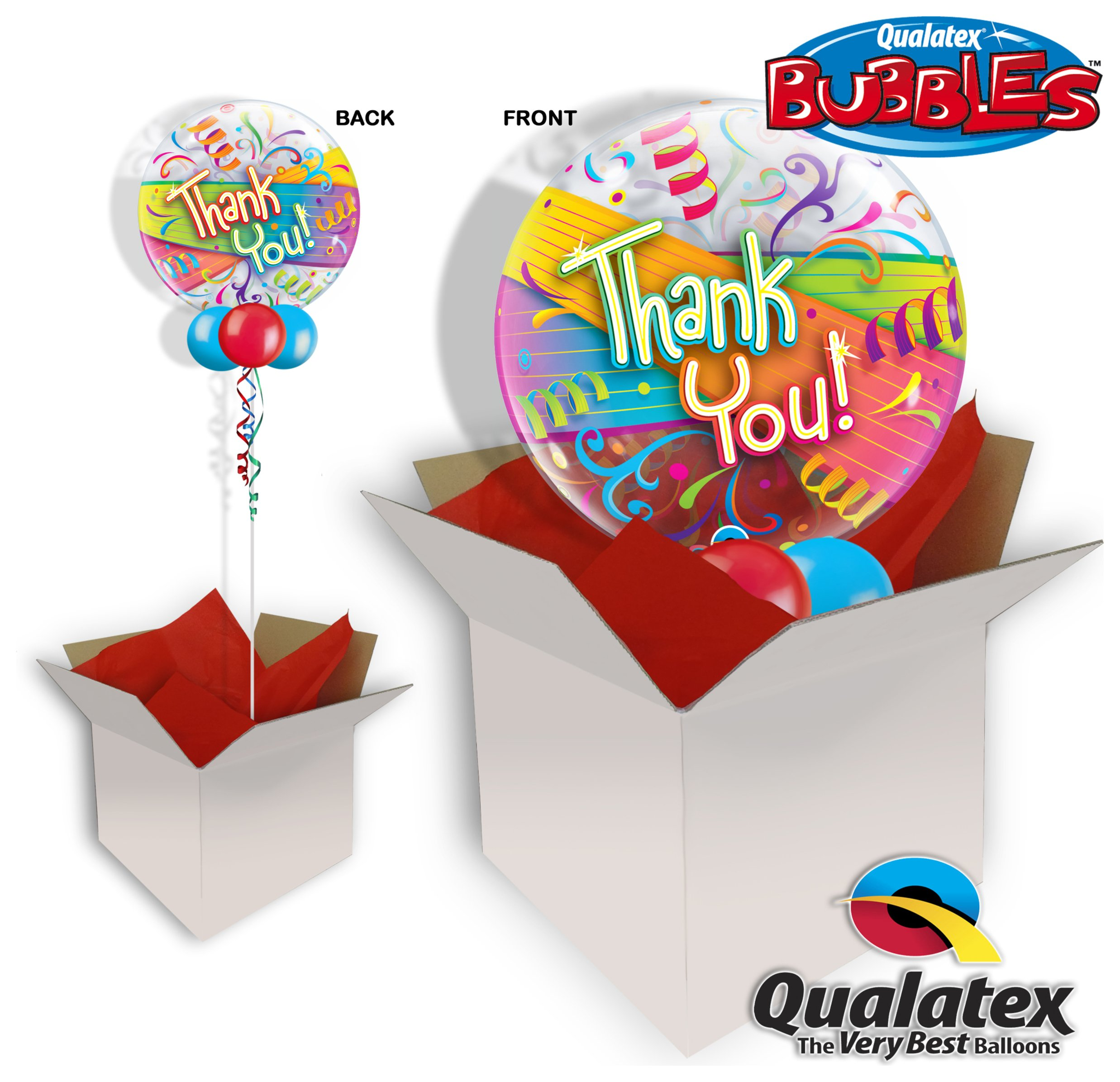 Thank You Streamers 22 Inch Bubble Balloon In A Box