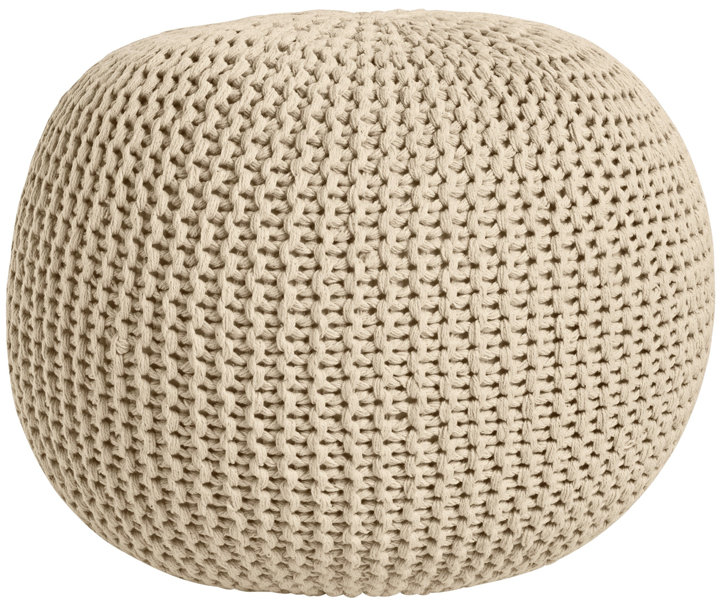 HOME Knitted Pouffe Footstool - Natural