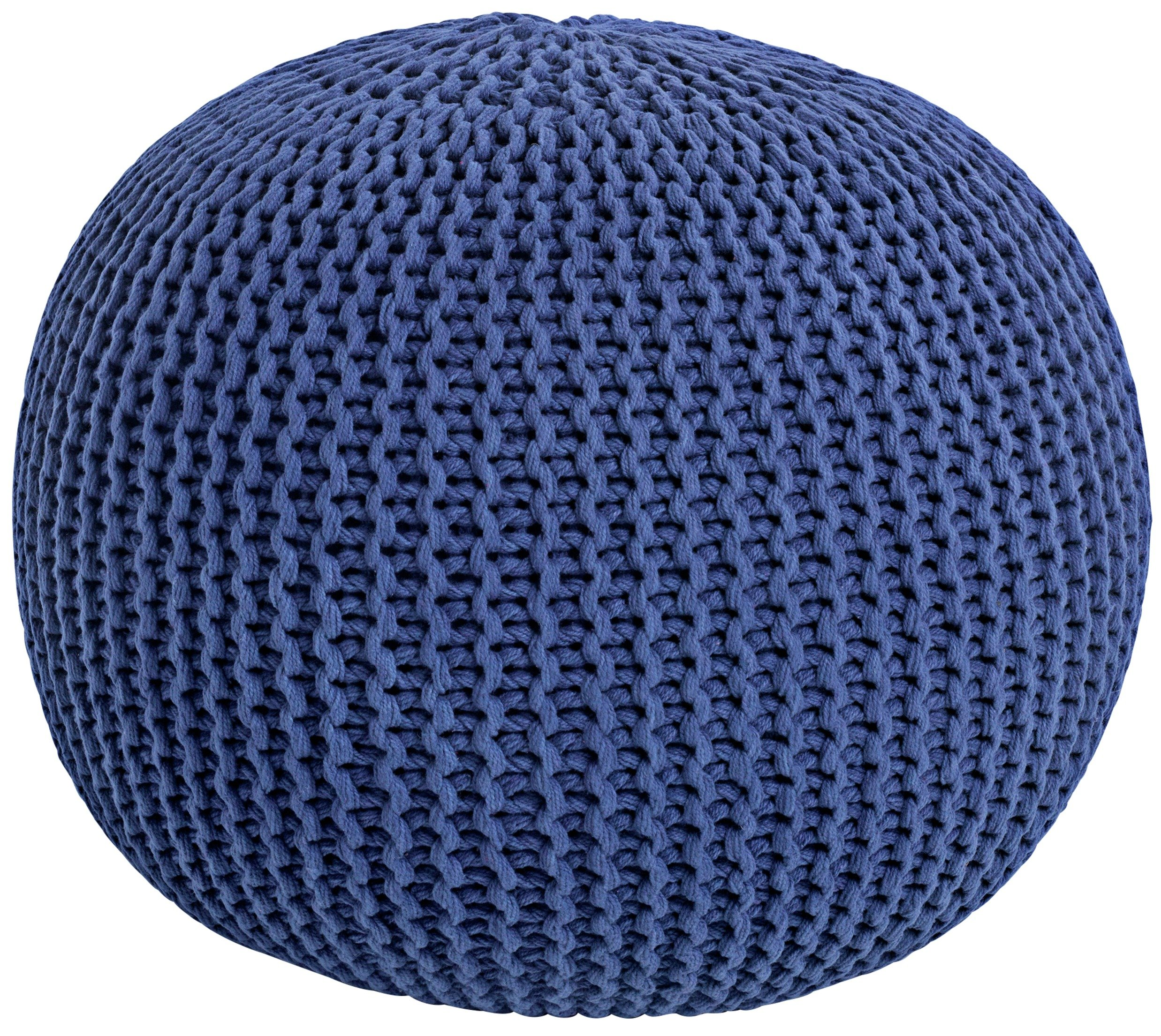 HOME Knitted Pouffe Footstool - Blue