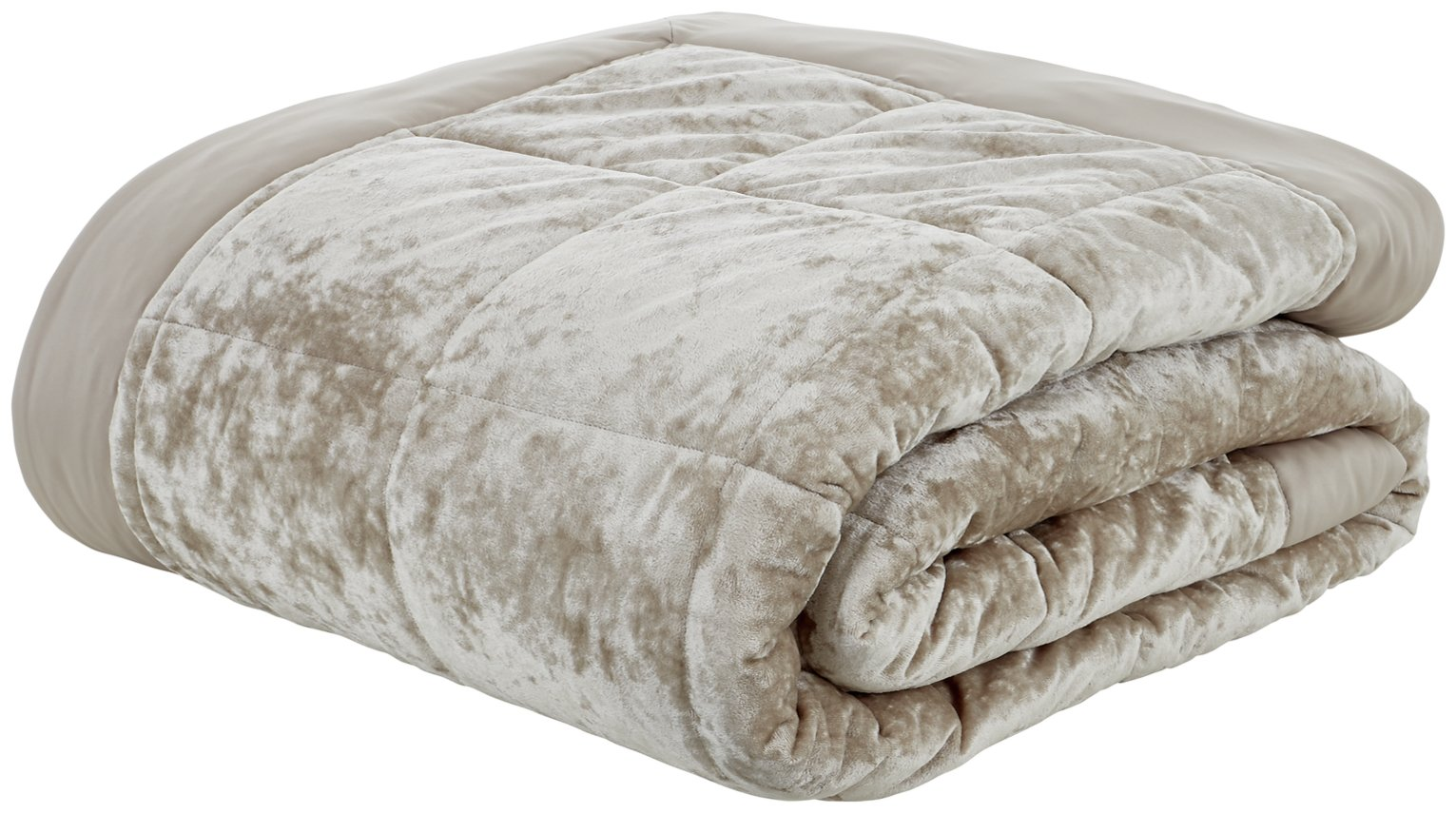Image of Catherine Lansfield Crushed Velvet Bedspead - Natural