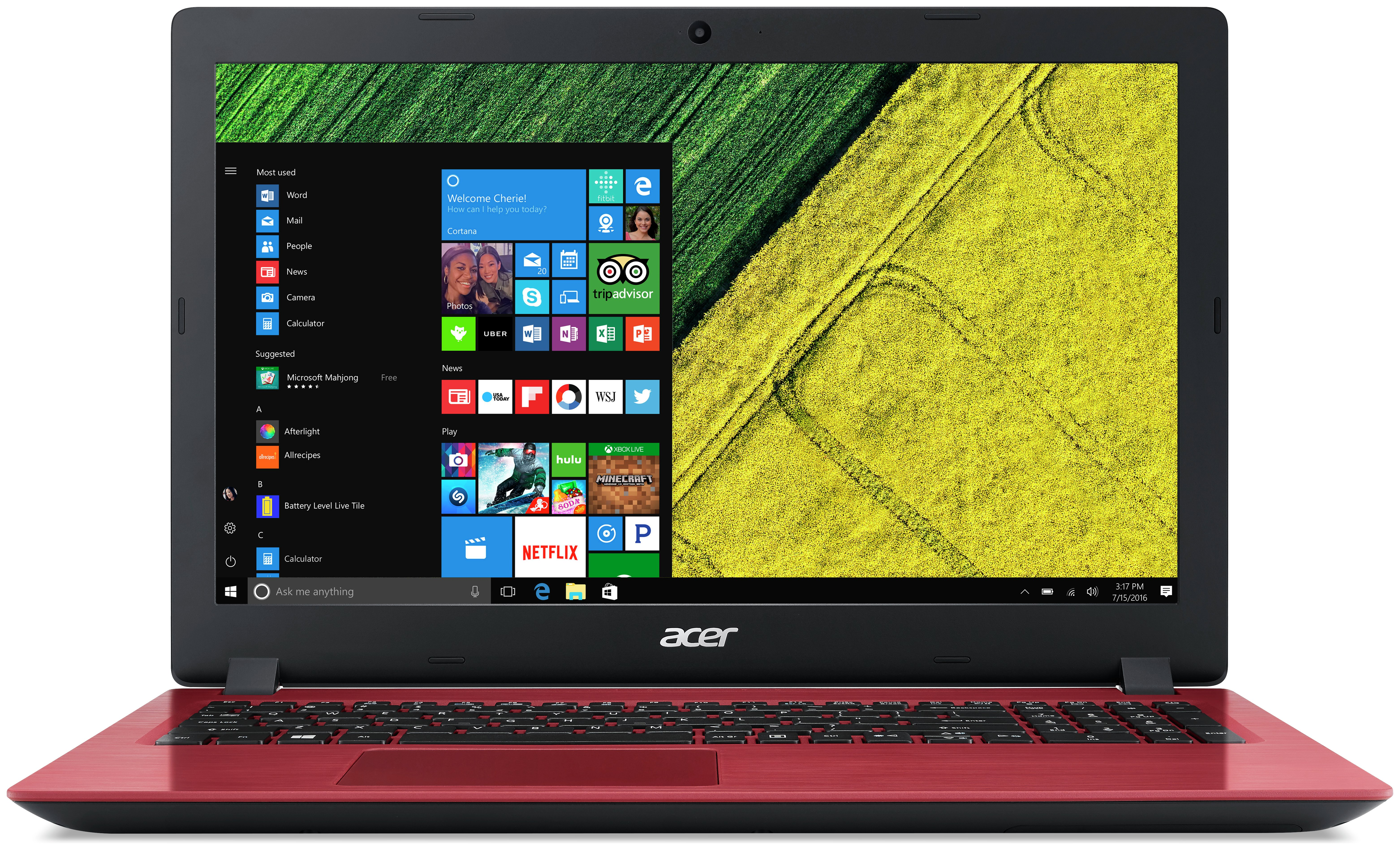 Image of Acer 15.6 Inch i3 4GB 1TB Laptop - Red