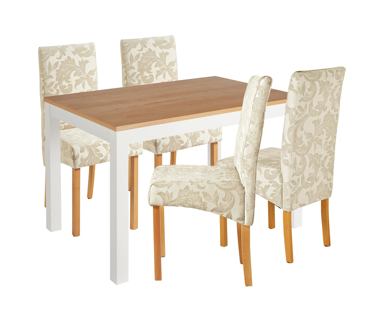 Image of Collection Clifton Two Tone Table & 4 Chairs - Cream Damask