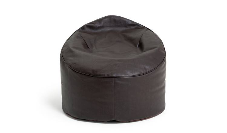 Argos Home Faux Leather Bean Bag Chair - Chocolate