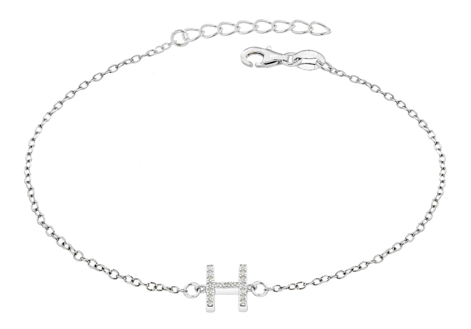 Sterling Silver Cubic Zirconia Initial Bracelet - H