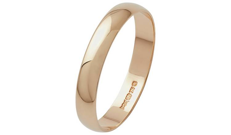 Revere 9ct Gold D-Shape Wedding Ring - 3mm - H