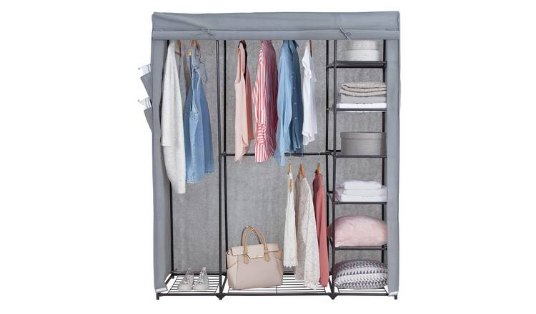 Grey Triple Canvas Wardrobe Closet with Clothes Hanging Rail and Storage Shelves