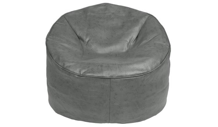 Buy Argos Home Faux Leather Bean Bag Chair Grey Bean