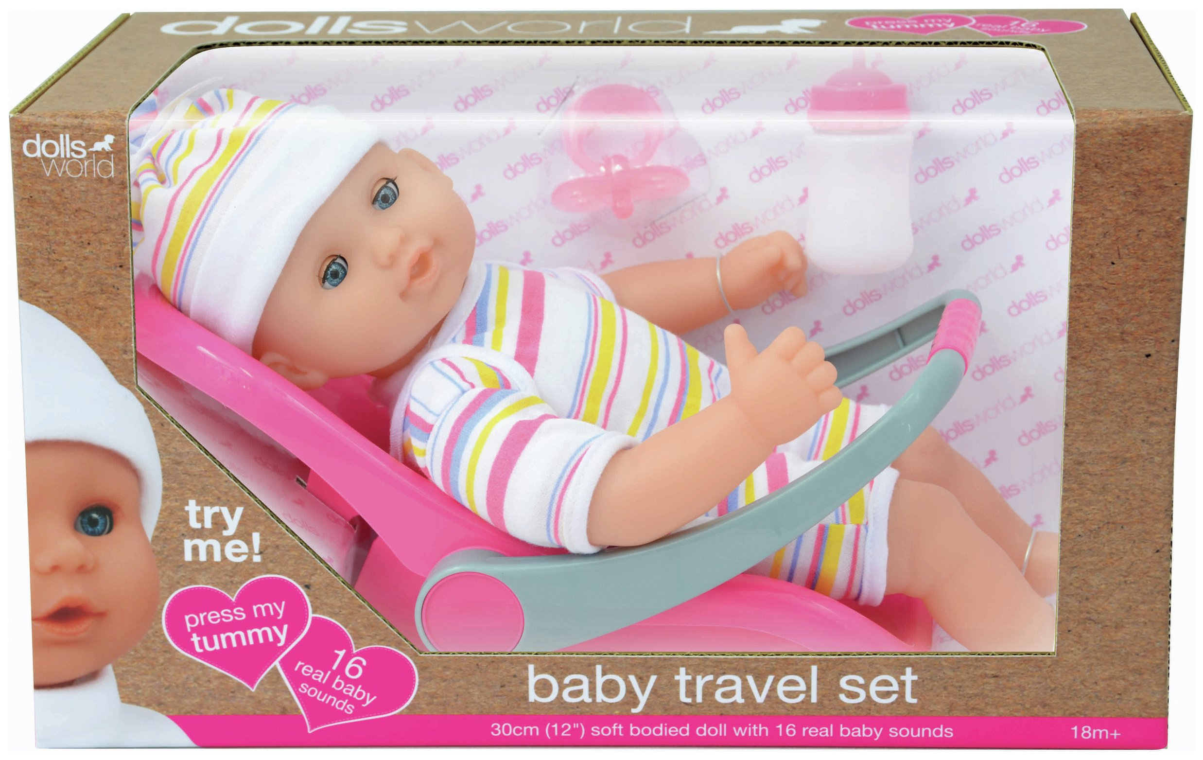 Image of Dollsworld Talking Doll with Travel Set.