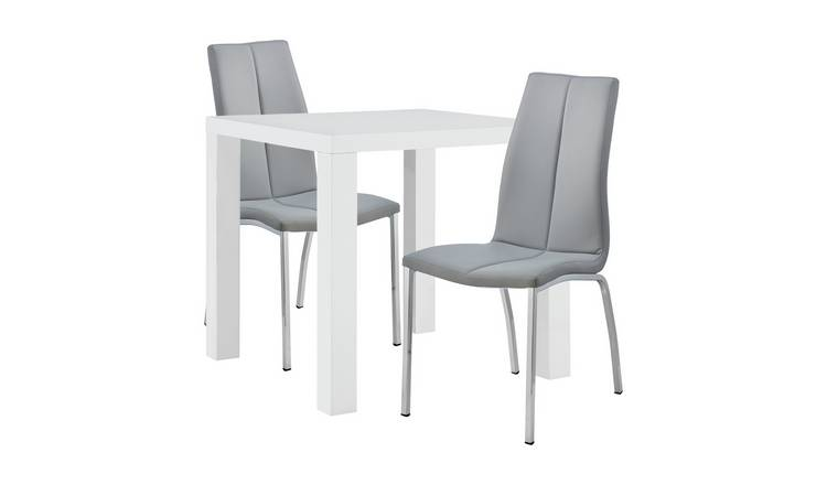 Argos Home Lyssa White Gloss Table & 2 Grey Milo Chairs