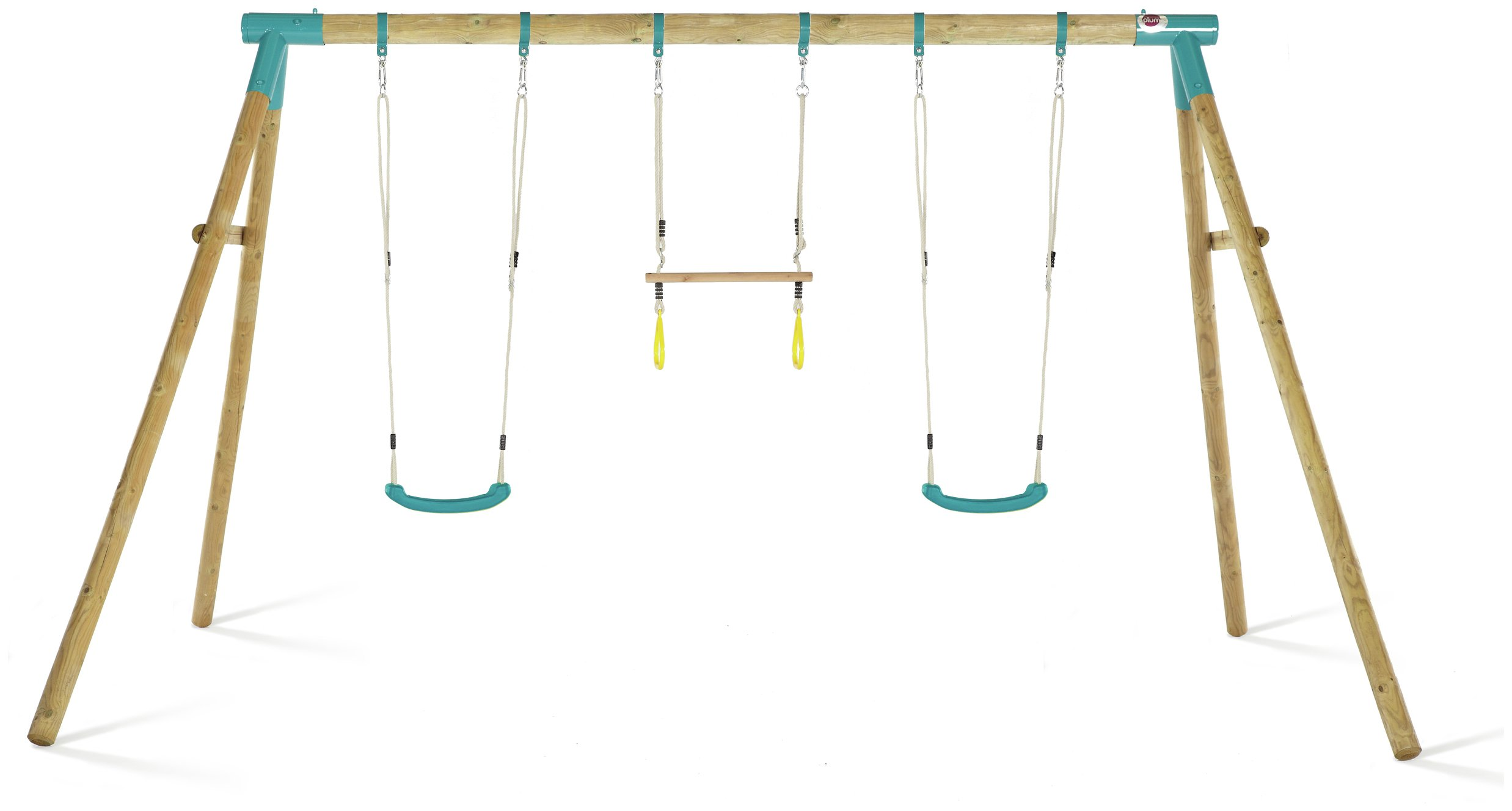 Plum Mangabey Wooden Swing Set With Trapeze & Double Swing