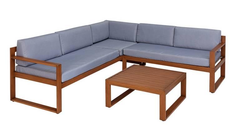 Buy Argos Home 5 Seater Aluminium Corner Sofa Set - Wood Effect | Patio  sets | Argos