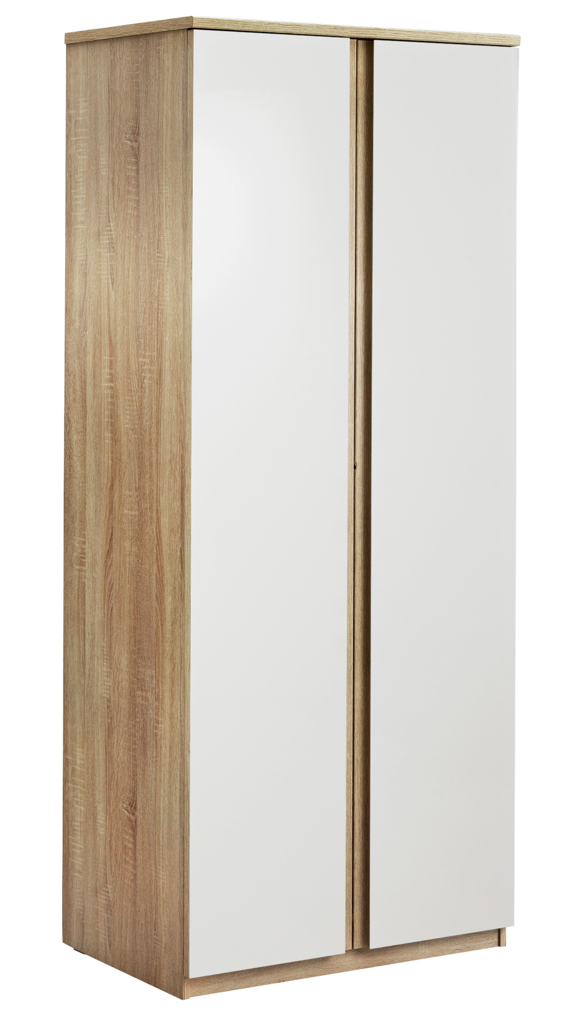 Image of Avenue 2 Door Wardrobe - Natural Oak Effect & White Gloss