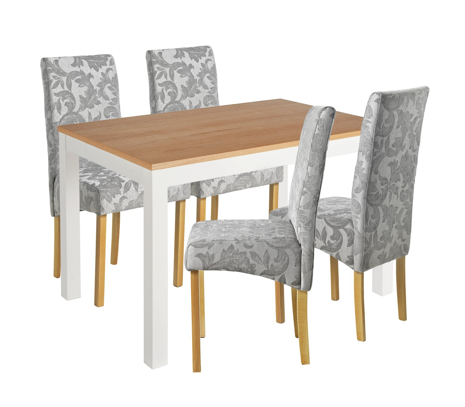 Image of Collection Clifton Two Tone Table & 4 Chairs - Grey Damask