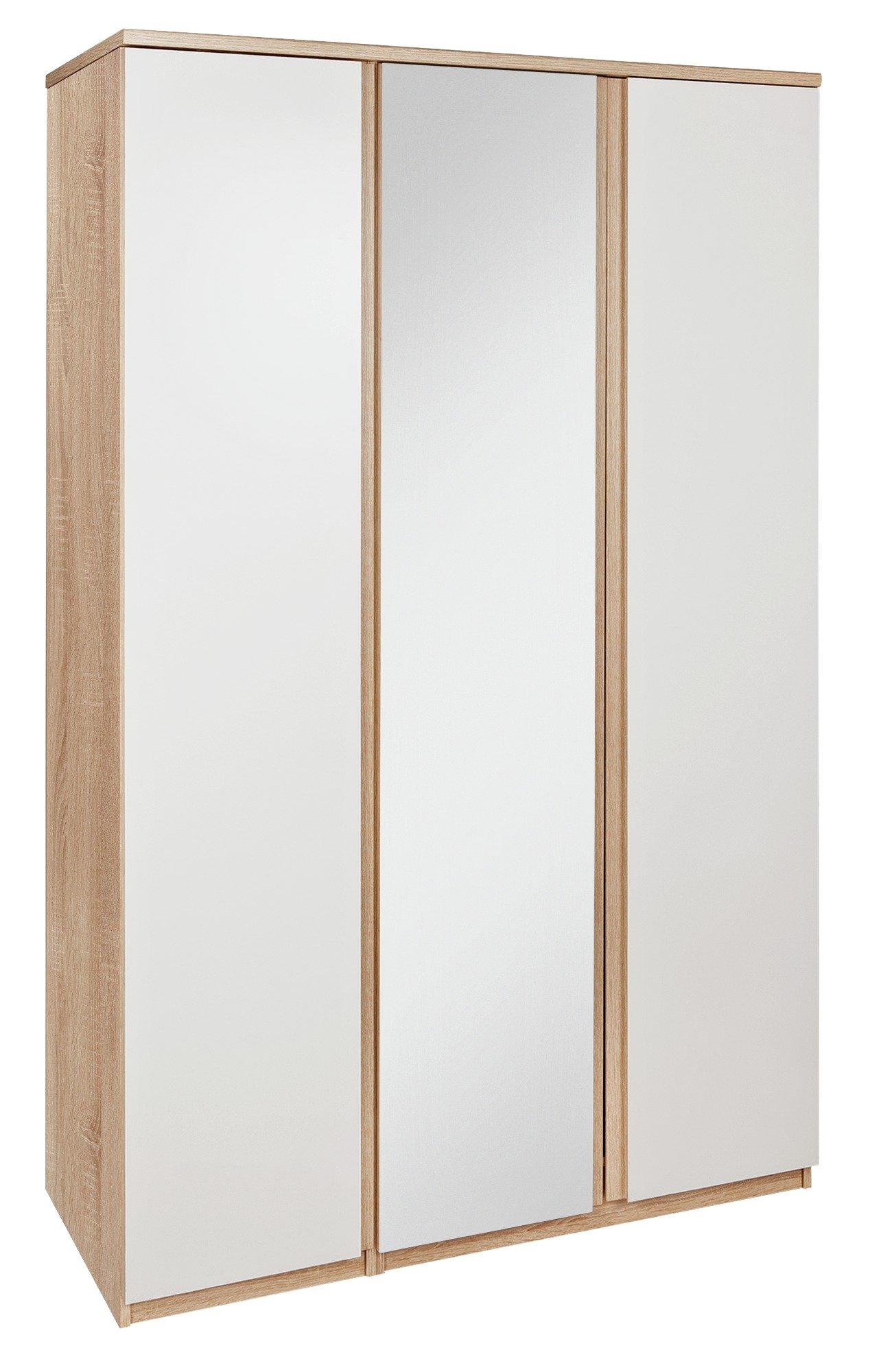 Image of Avenue 3 Door Mirrored Wardrobe - Brown Oak Effect