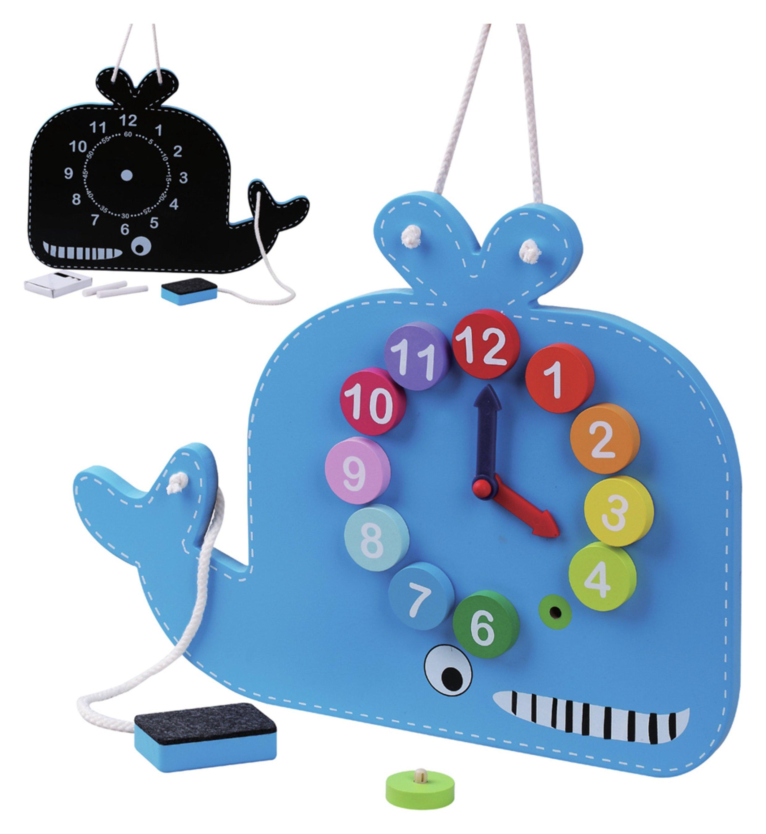 Jumini Wooden Whale Clock and Blackboard