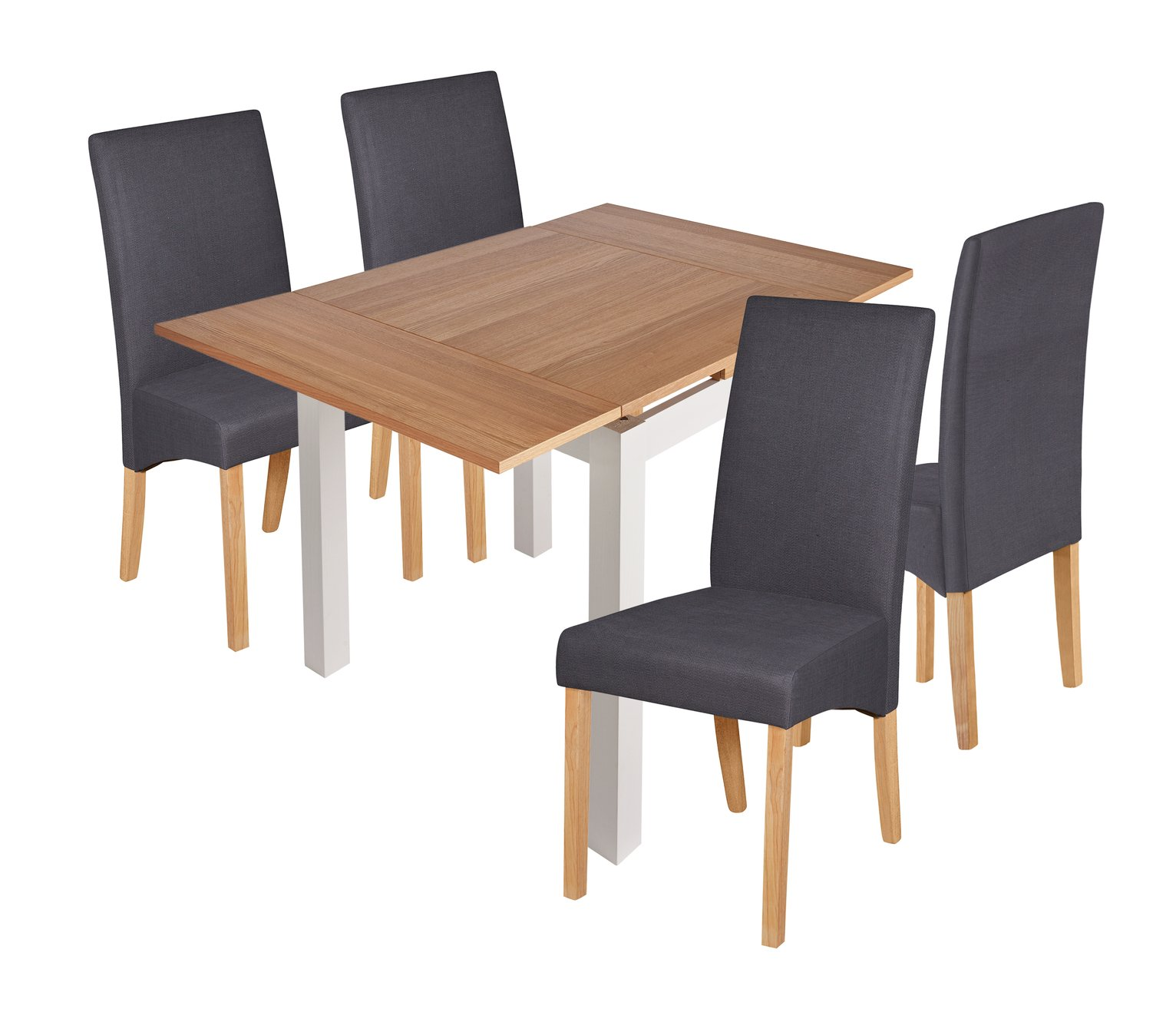 Collection Clifton Small Extendable Table & Chairs Charcoal & White