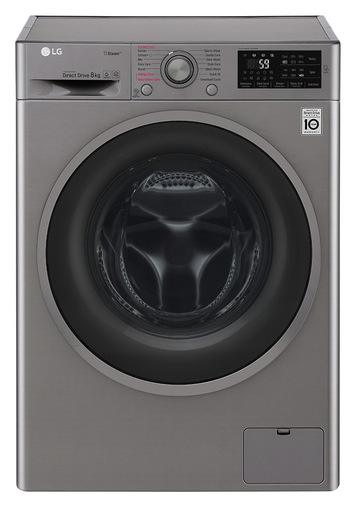 Image of LG F4J6TY8S 8KG 1400 Spin Washing Machine - Steel - Del/Ins/Rec