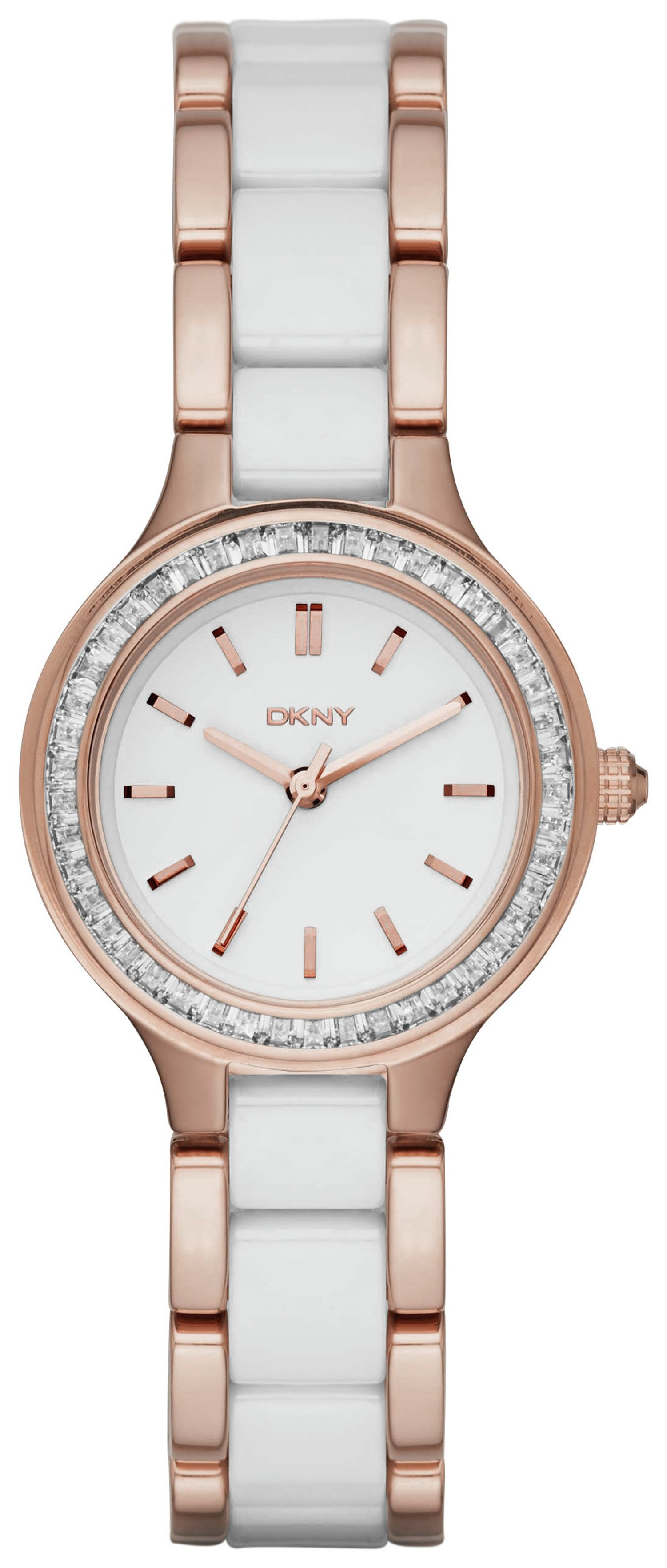 Image of DKNY Ladies' Chambers NY2496 Ceramic Rose Gold Tone Watch