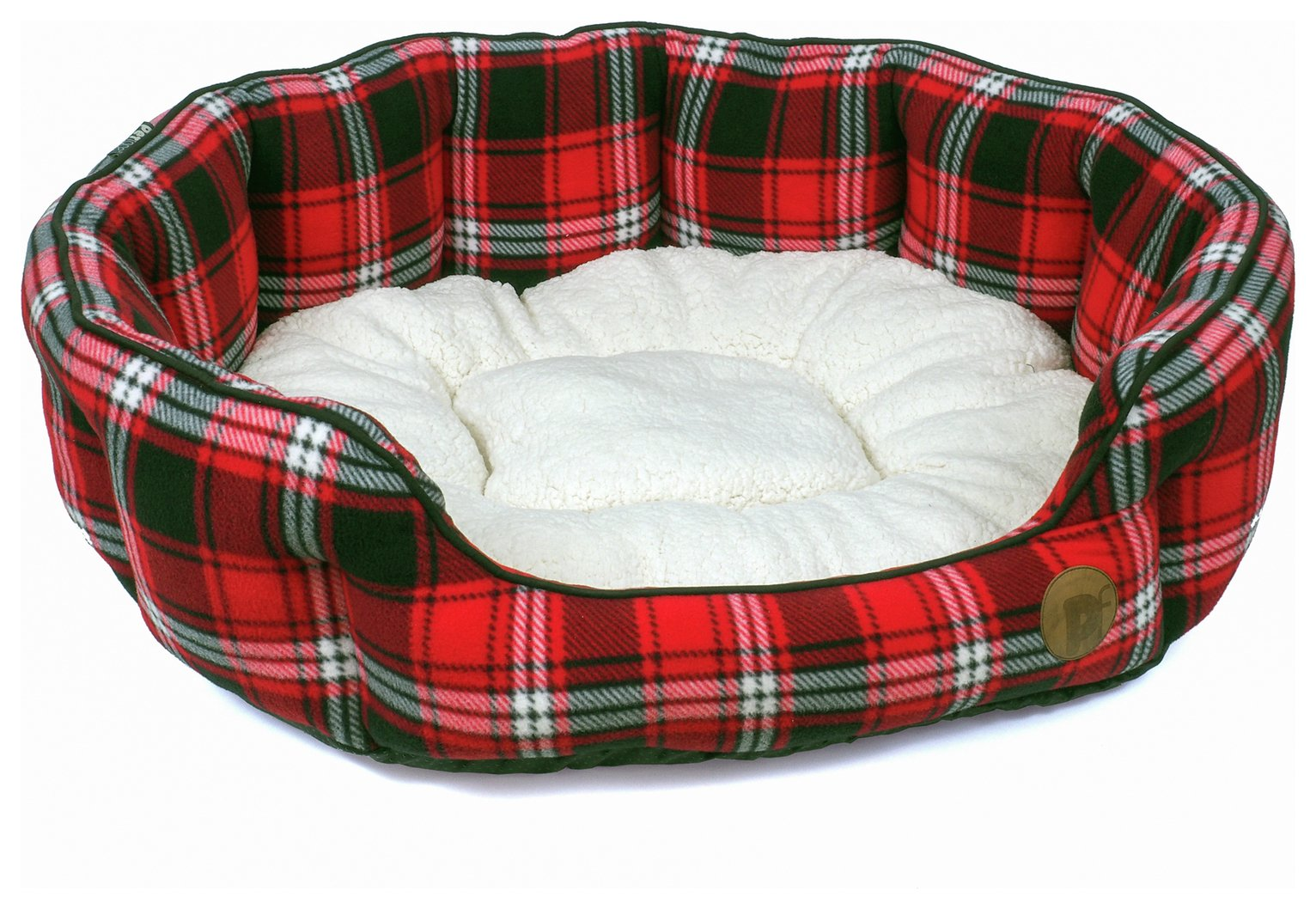 Petface Red Tartan Oval Dog Bed - Large