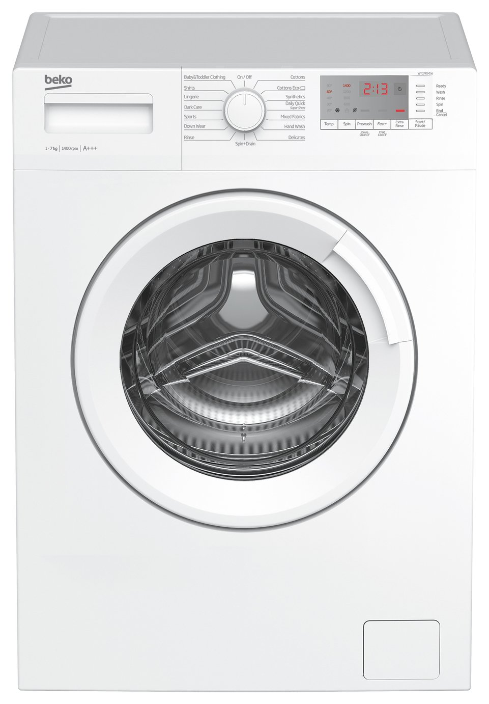 Beko WTG741M1W 7KG 1400 Spin Washing Machine - White Best Price, Cheapest Prices