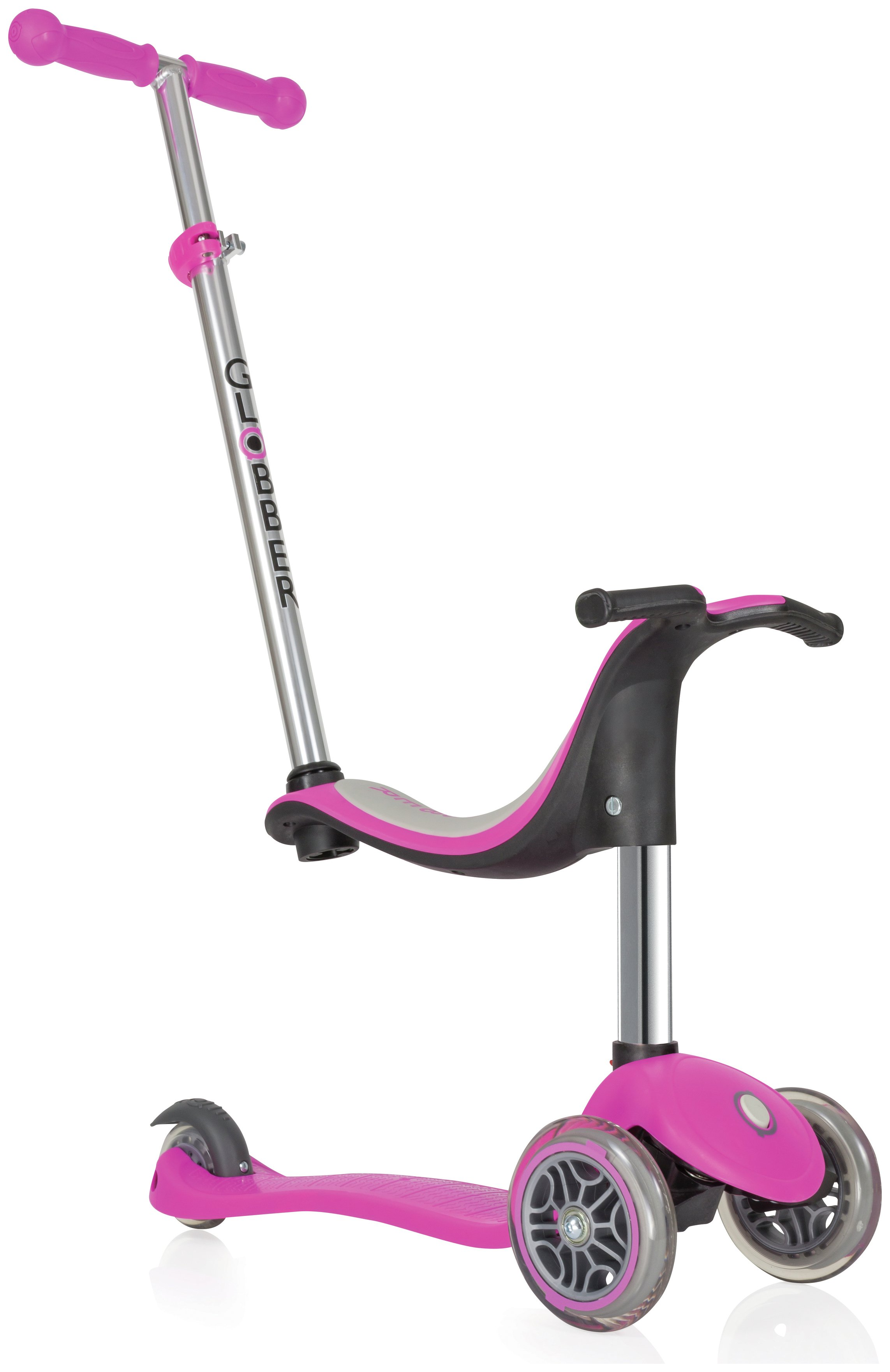 Globber Evo 4-in-1 3 Wheel Scooter - Deep Pink