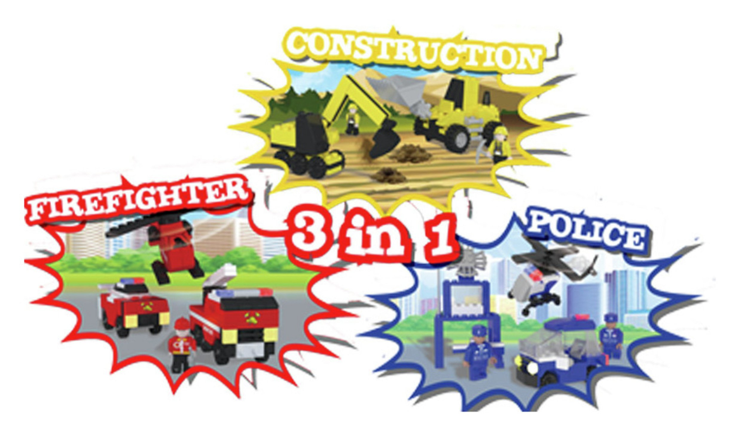 Best-Lock Construction Toys 3-in-1 Playset Multi Pack - 450