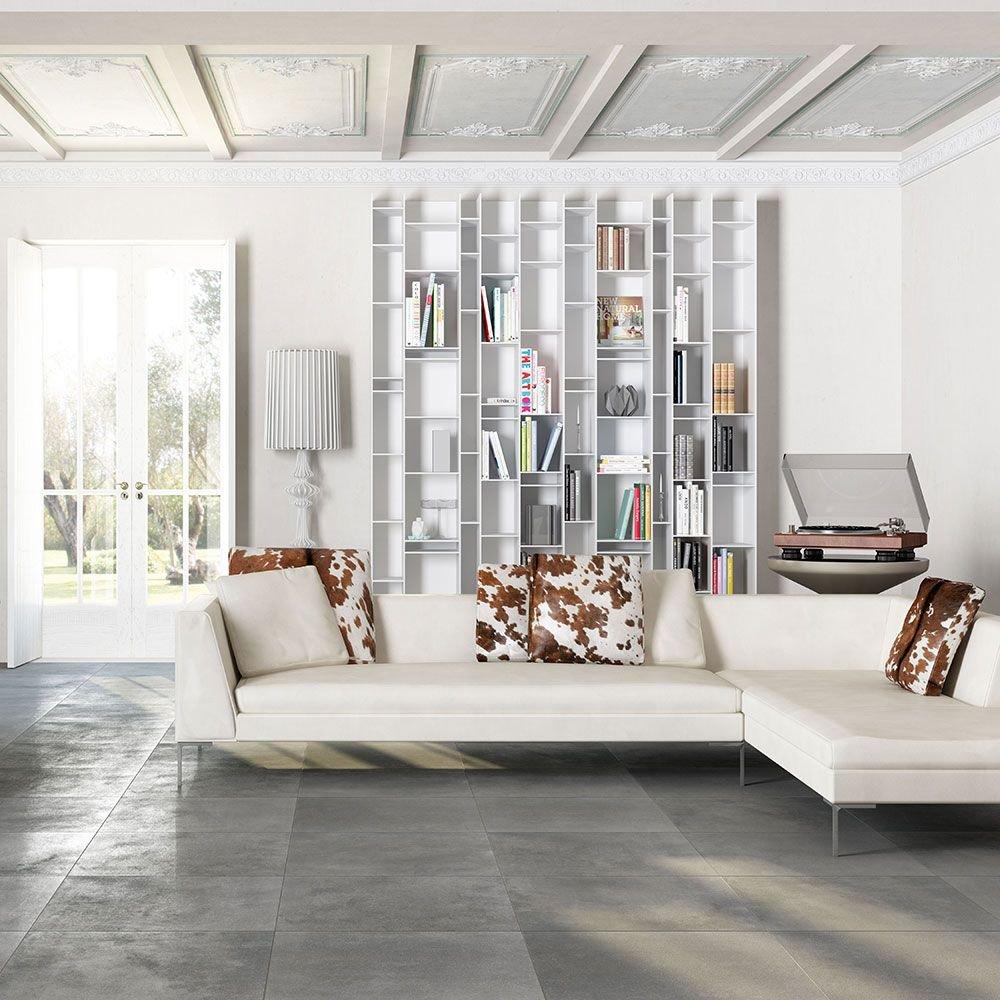 Image of Matt Porcelain Stone Effect Wall and Floor Tile - Dark Grey - 6 Tiles