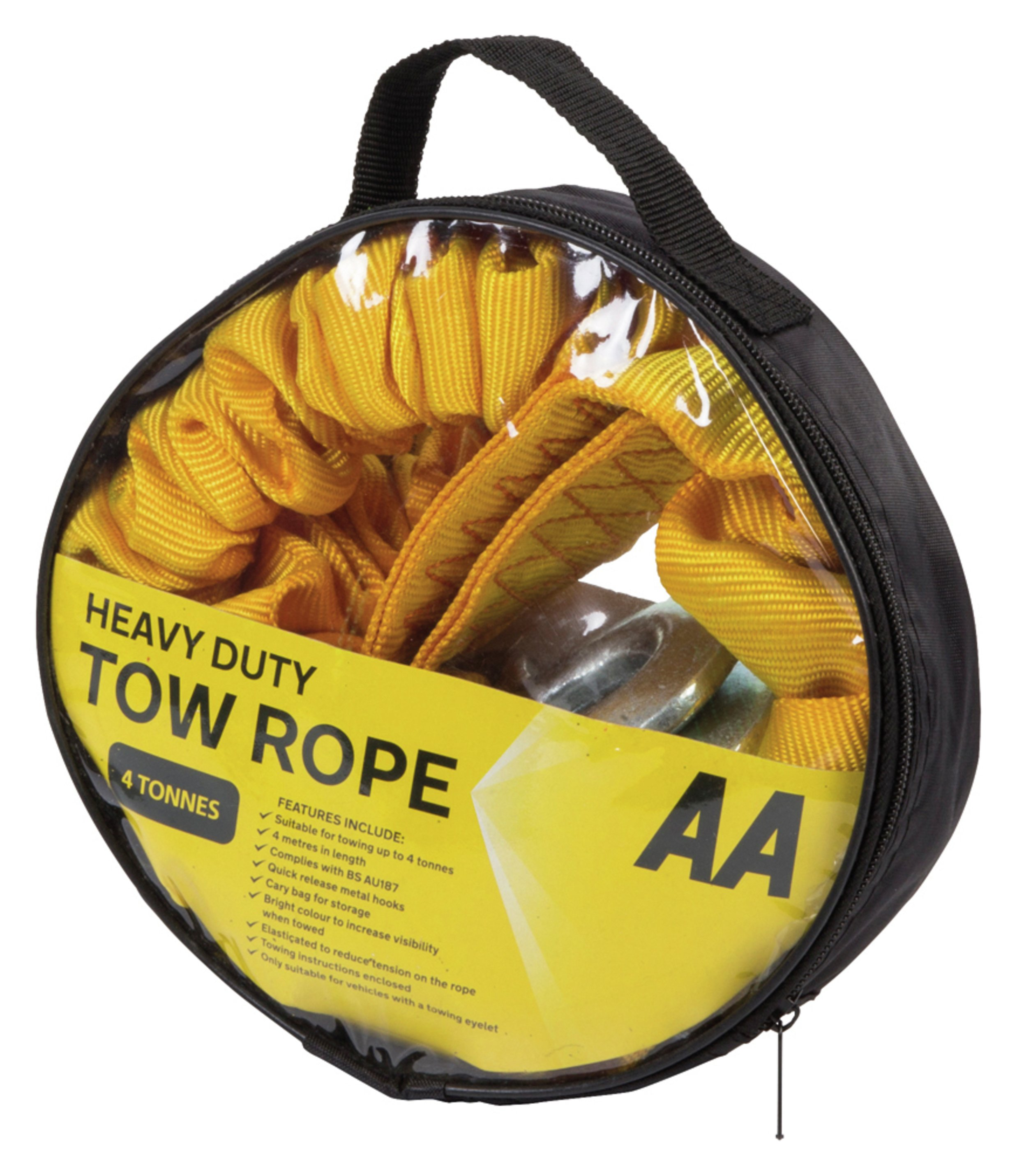 Image of AA 4 Metre Tow Rope with Carry Bag - 4 Tonnes
