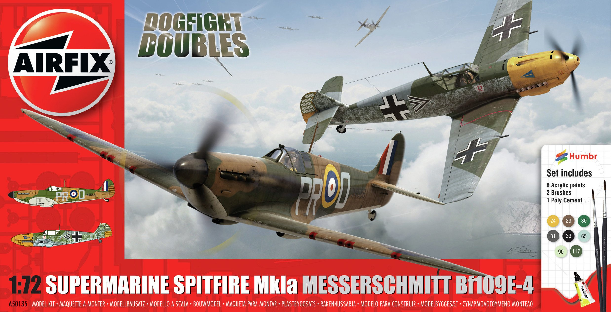 Image of Airfix Spitfire Messerschmitt Bf109E-4 Model Kit
