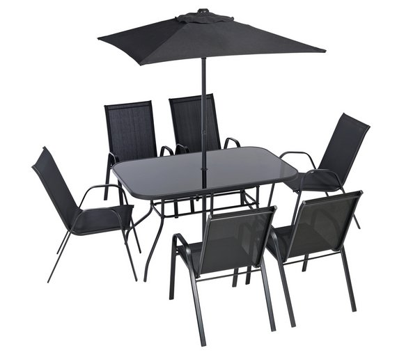 Buy HOME Sicily 6 Seater Metal Patio Set | Garden table and chair ...