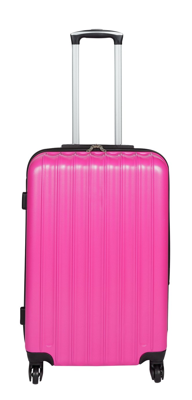 Medium 4 Wheel Hard Suitcase - Candy Pink