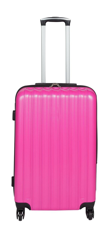 Medium 4 Wheel Hard Suitcase - Candy Pink