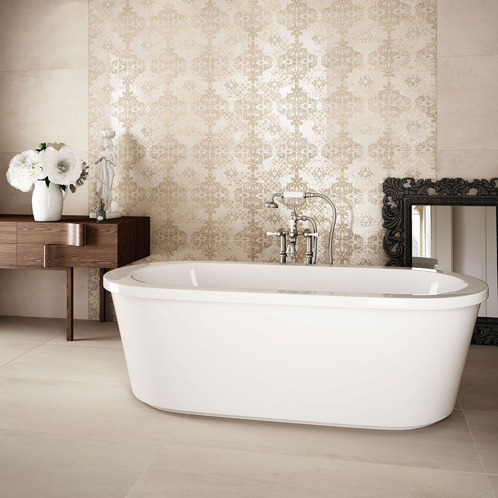 Image of Polished Porcelain Stone Effect Wall and Floor Tile - Ivory