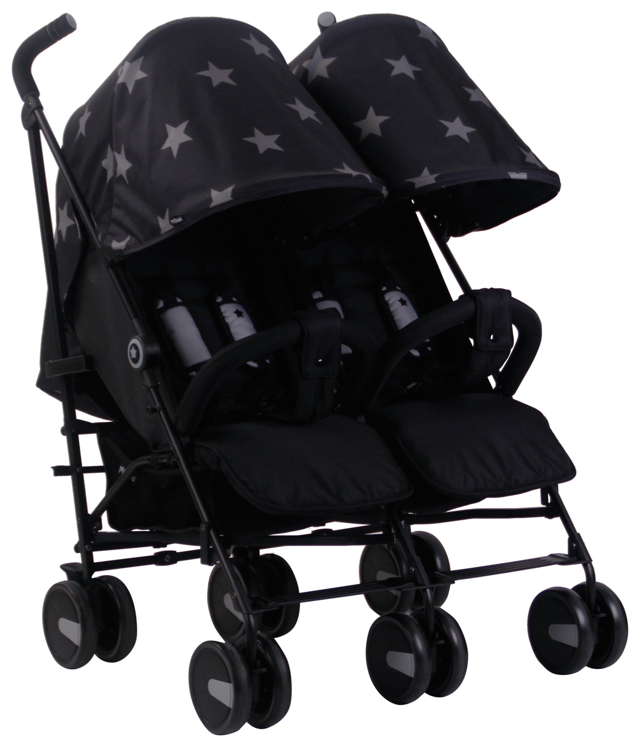 My Babiie MB22 Stars Double Pushchair - Black