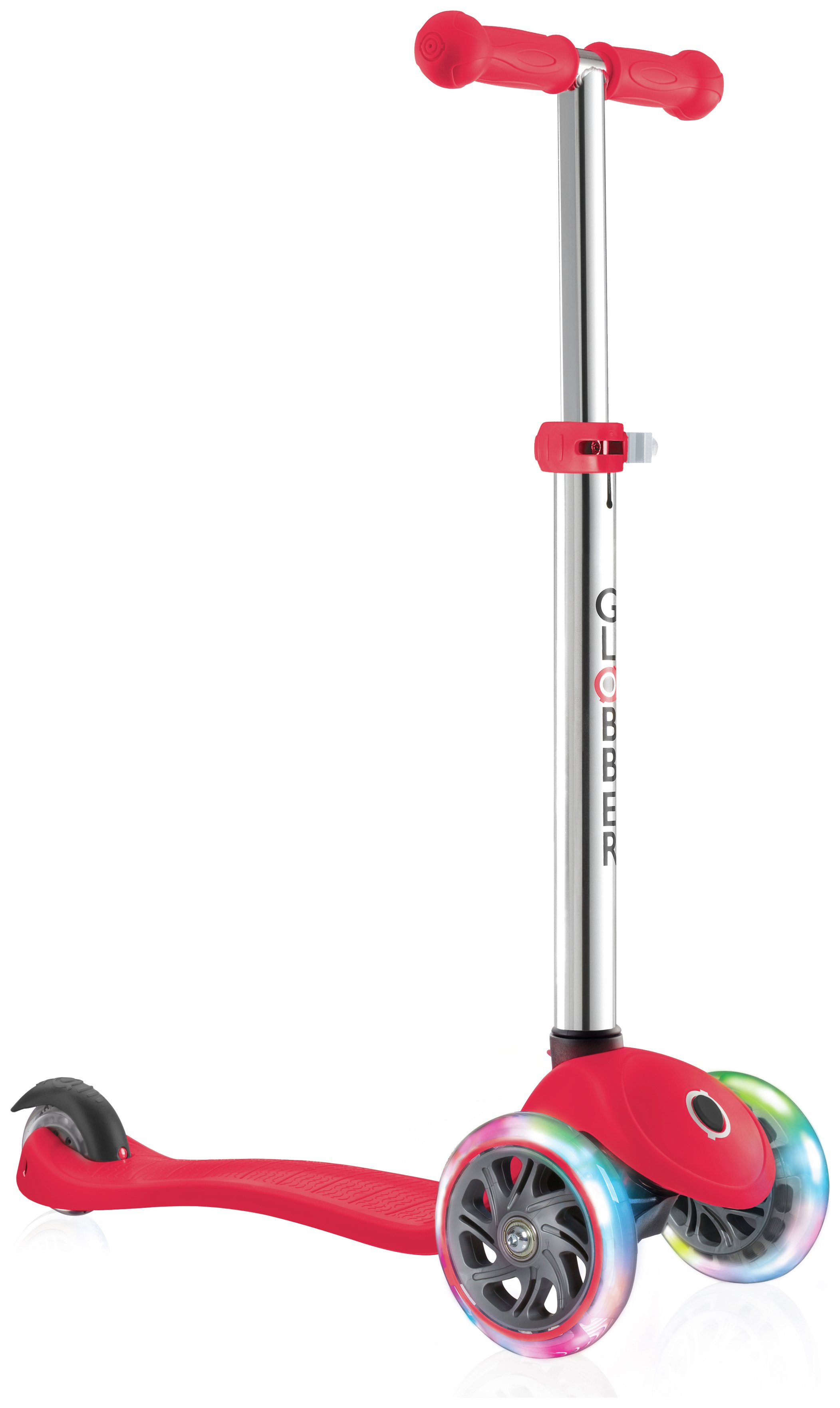 Globber Primo Lights 3 Wheel Scooter - Red