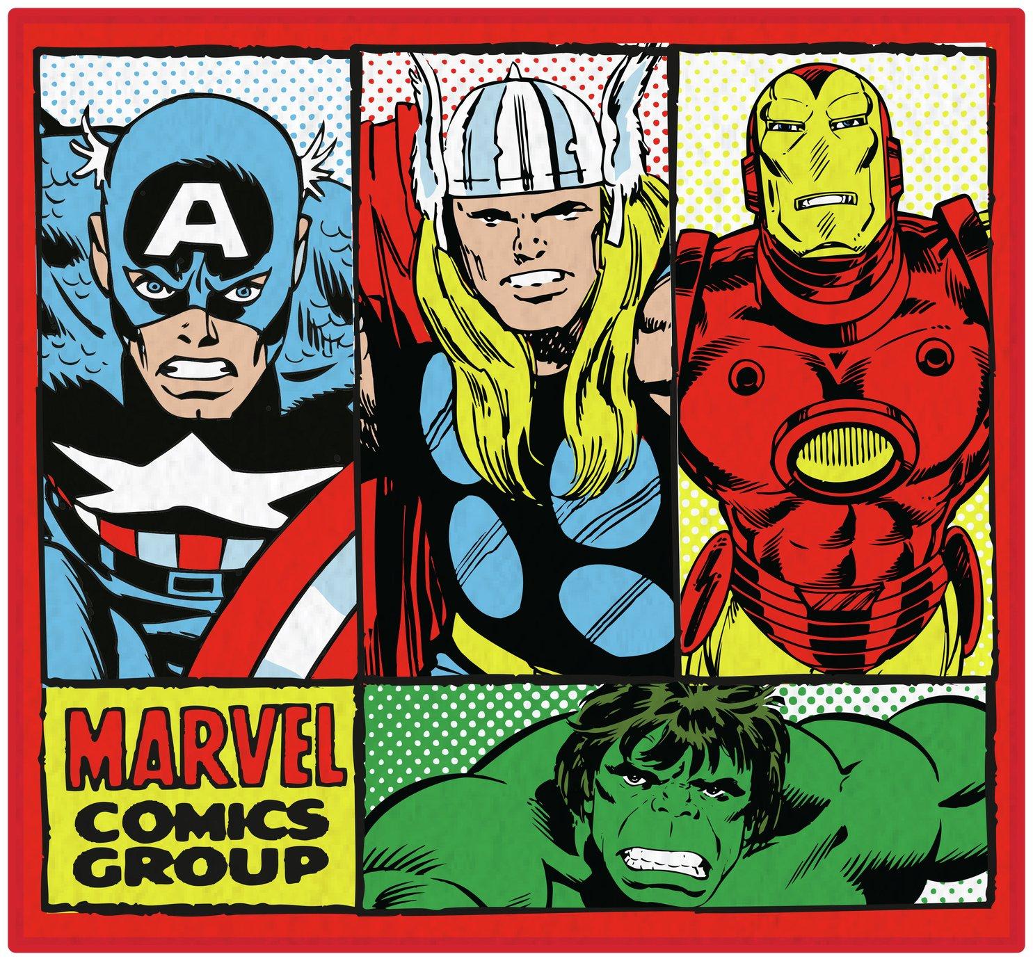 Marvel Comics Retro Rug - 80x80cm - Multicoloured