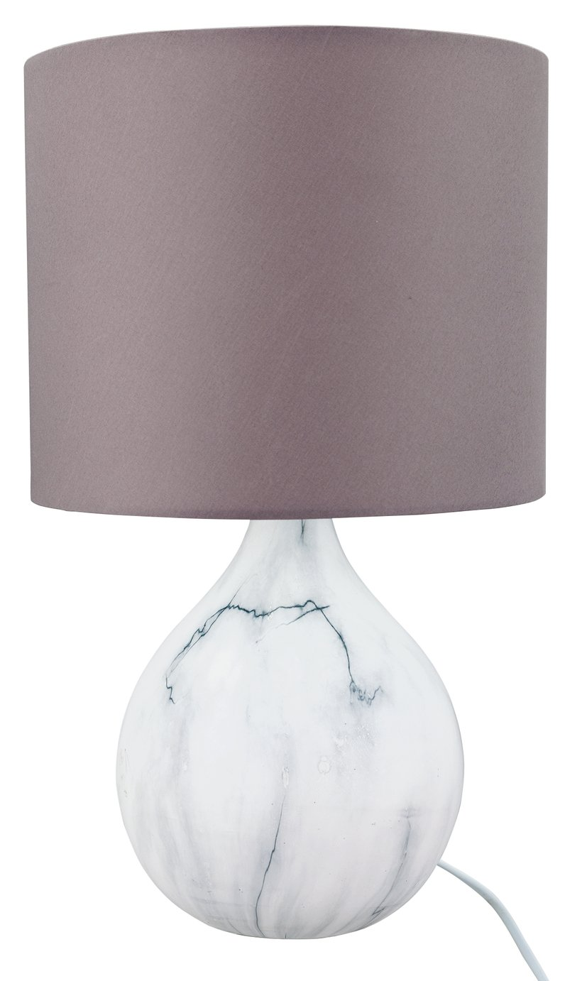 Argos Home March Ceramic Marble Effect Table Lamp - Grey
