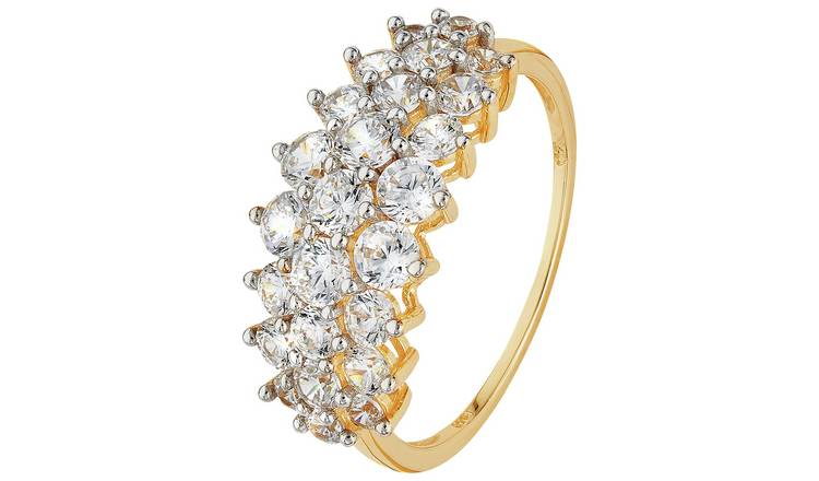 Revere 9ct Gold Elongated Cluster Ring. - H