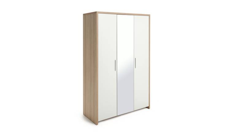 Argos Home Broadway 3 Door Mirror Wardrobe  - Oak & White