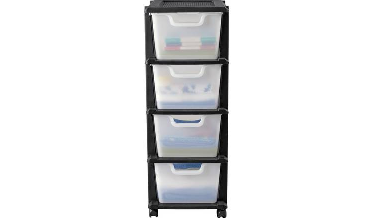 Argos Home 4 Drawer Plastic Tower Storage Unit - Black