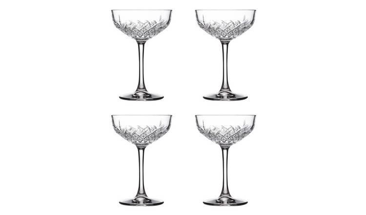 Argos Home Set of 4 Pressed Glass Champagne Coupe Glasses