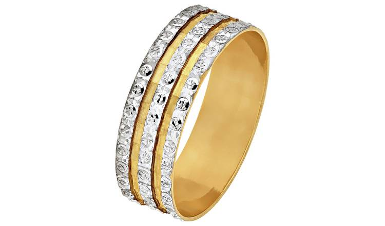 Revere 9ct Gold Diamond Cut 3 Row Sparkle Ring - L