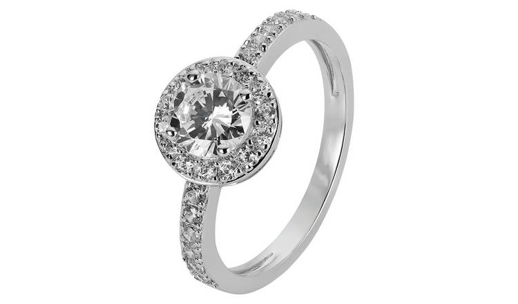 Revere Sterling Silver Cubic Zirconia Halo Ring - L