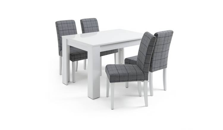 Habitat Miami White Gloss Dining Table & 4 Chairs - Blue