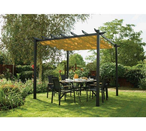 Buy rowlinson latina aluminium frame canopy 9 x 9ft at for Garteneingang gestalten