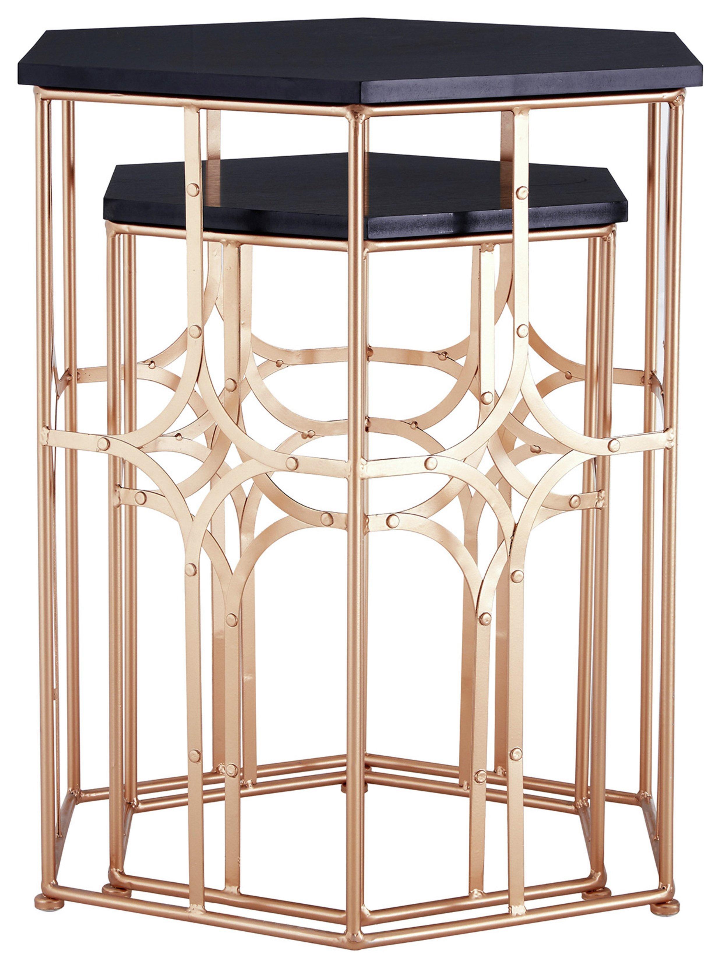 Premier Housewares Lexa Set of 2 Side Tables - Rose Gold