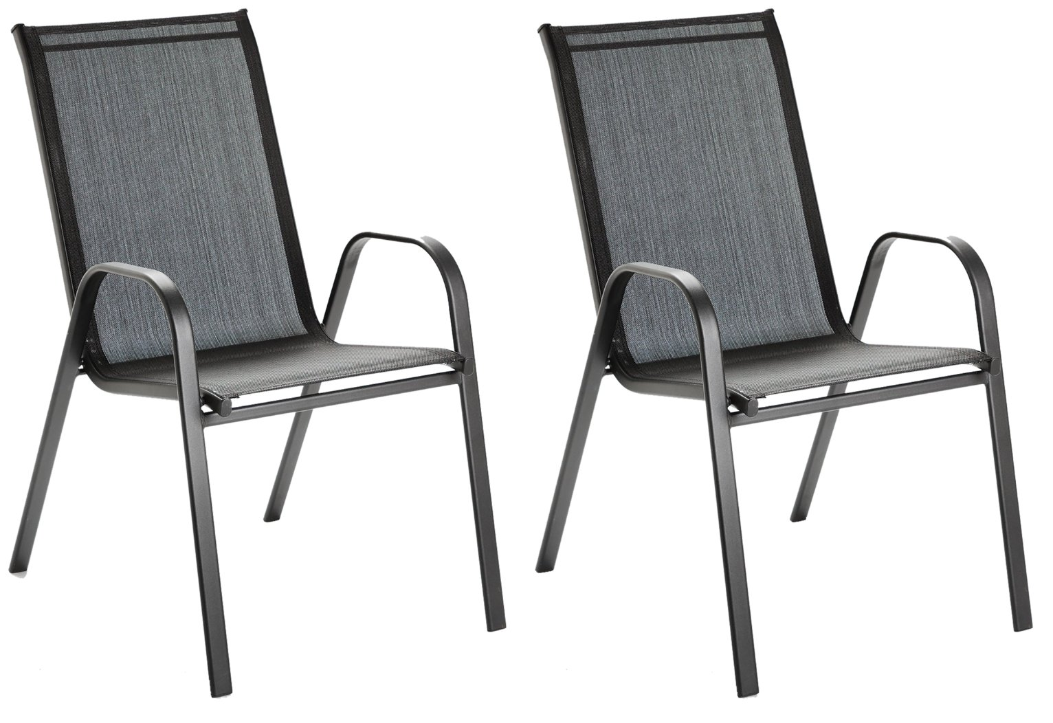 Argos Home Sicily Metal Set of 2 Stacking Chair - Black
