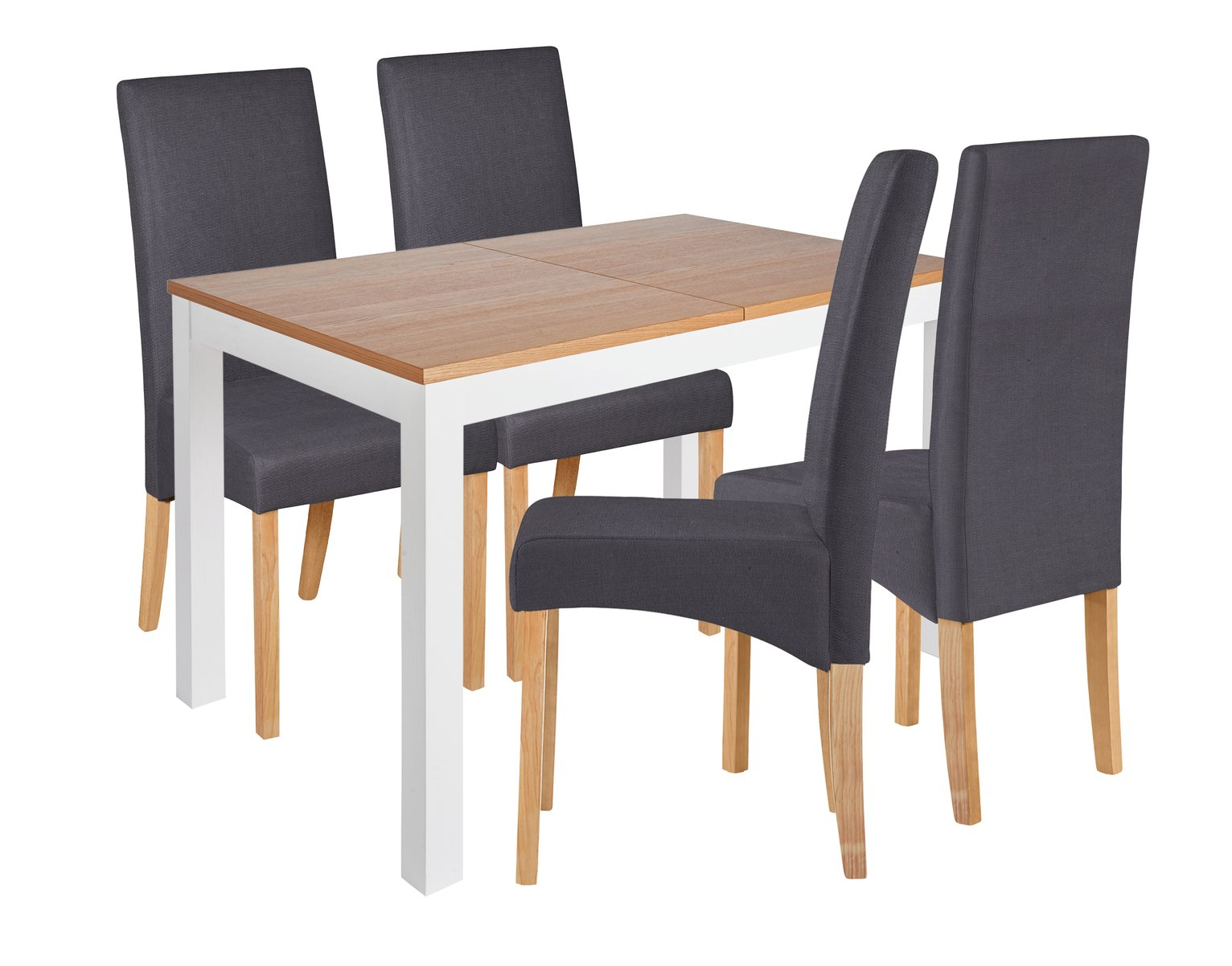 Image of Collection Clifton Extendable Table & 4 Chairs Charcoal - White Legs